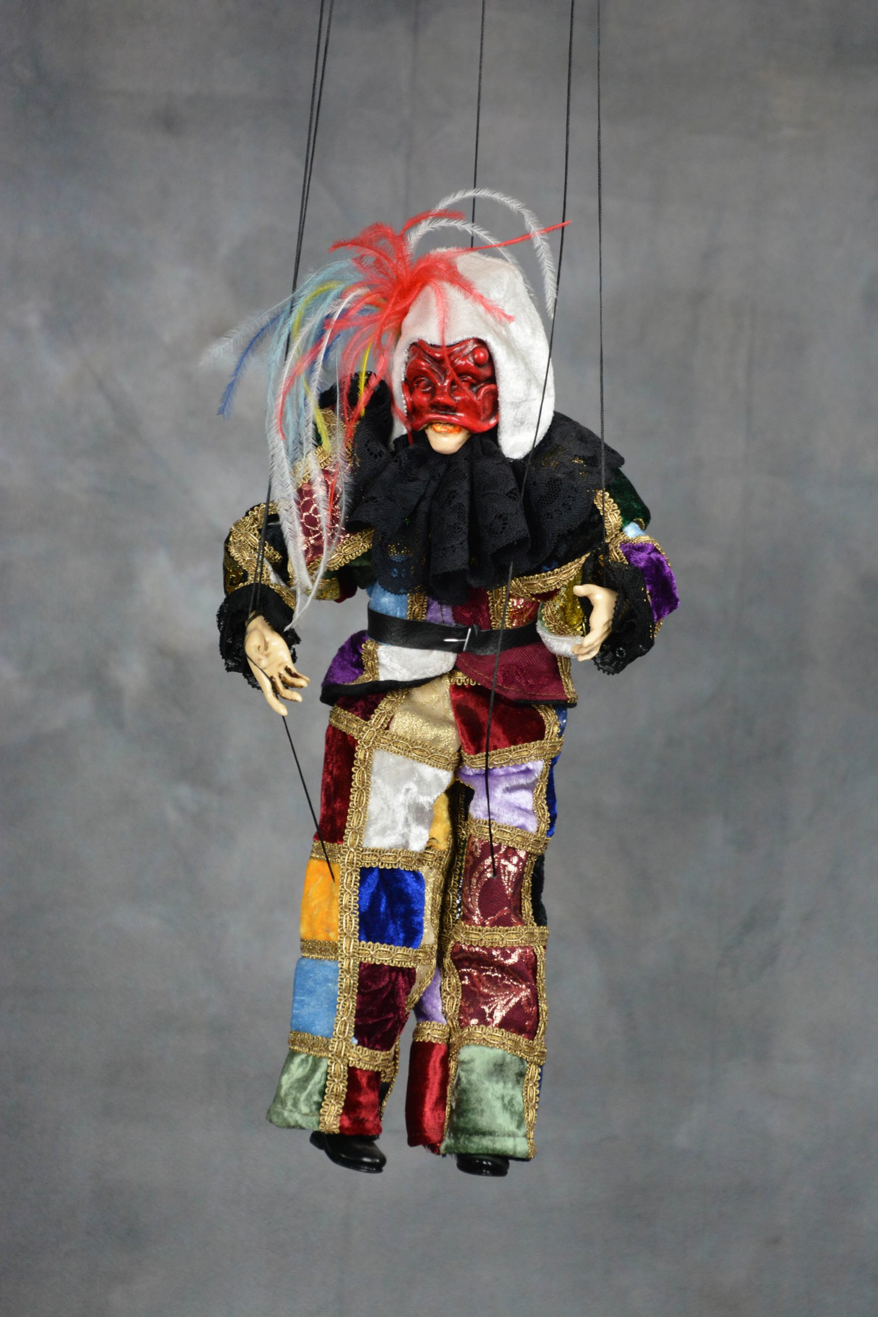 marionnette artisanale arlequin