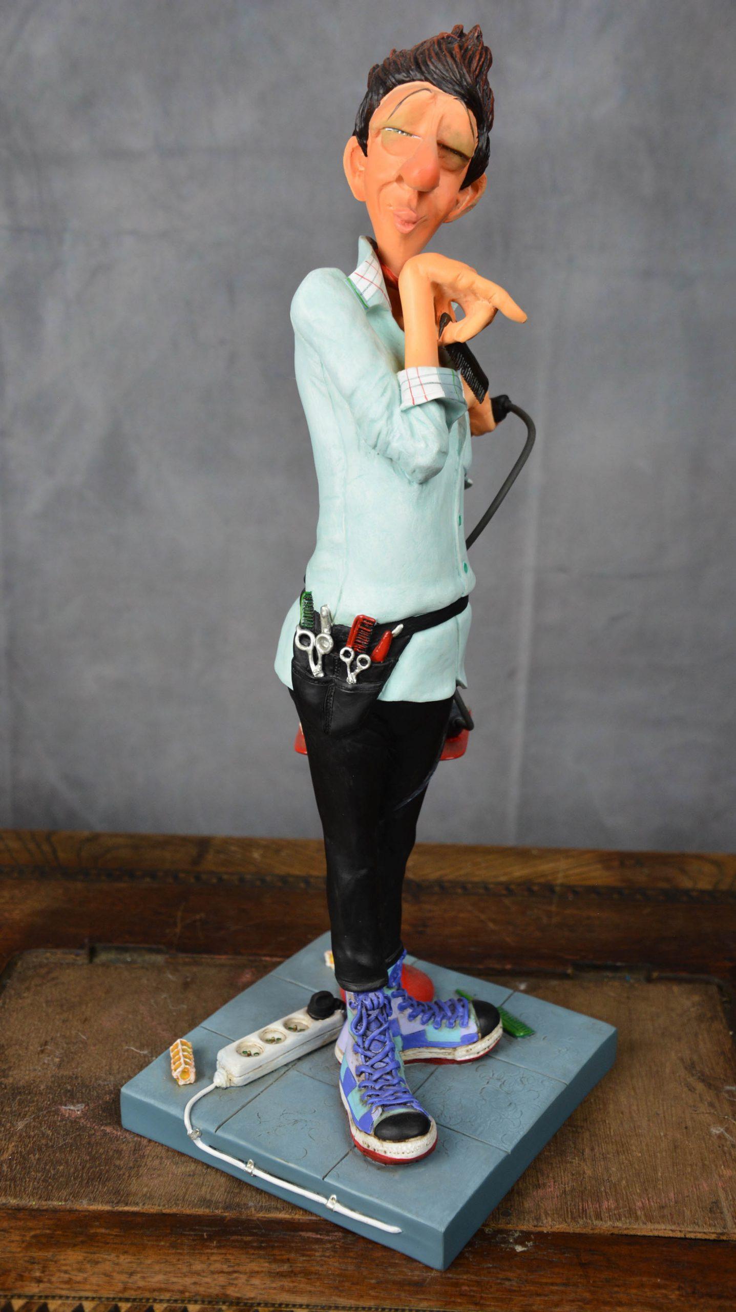 boutique figurine piece artisanale personnage coiffeur parodie