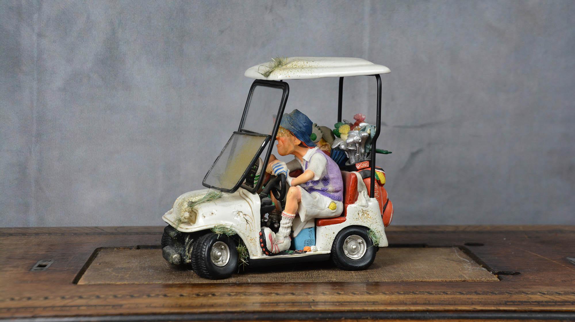 boutique figurine piece artisanale vehicule golfeurs parodie