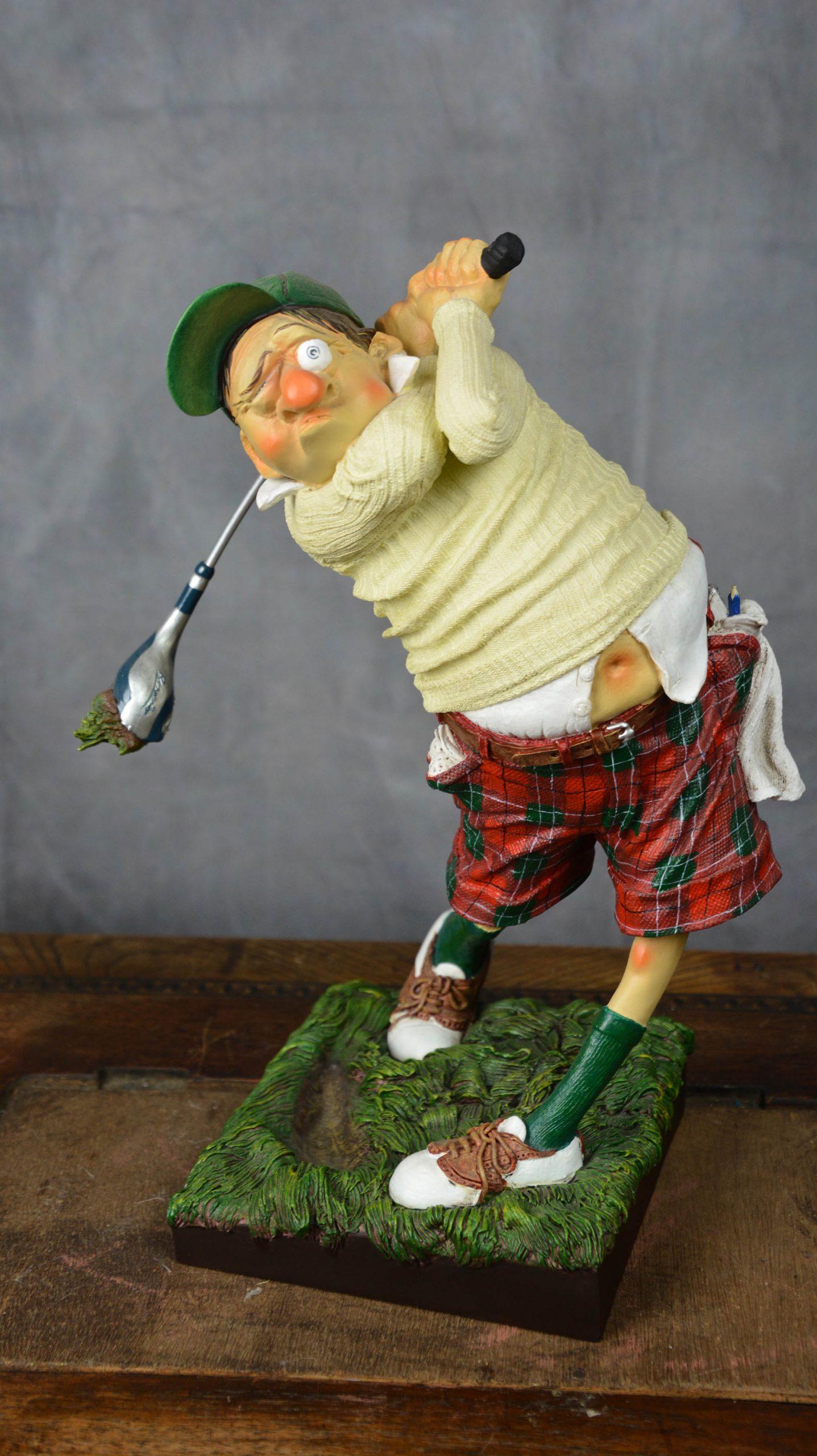boutique figurine piece artisanale golfeur parodie