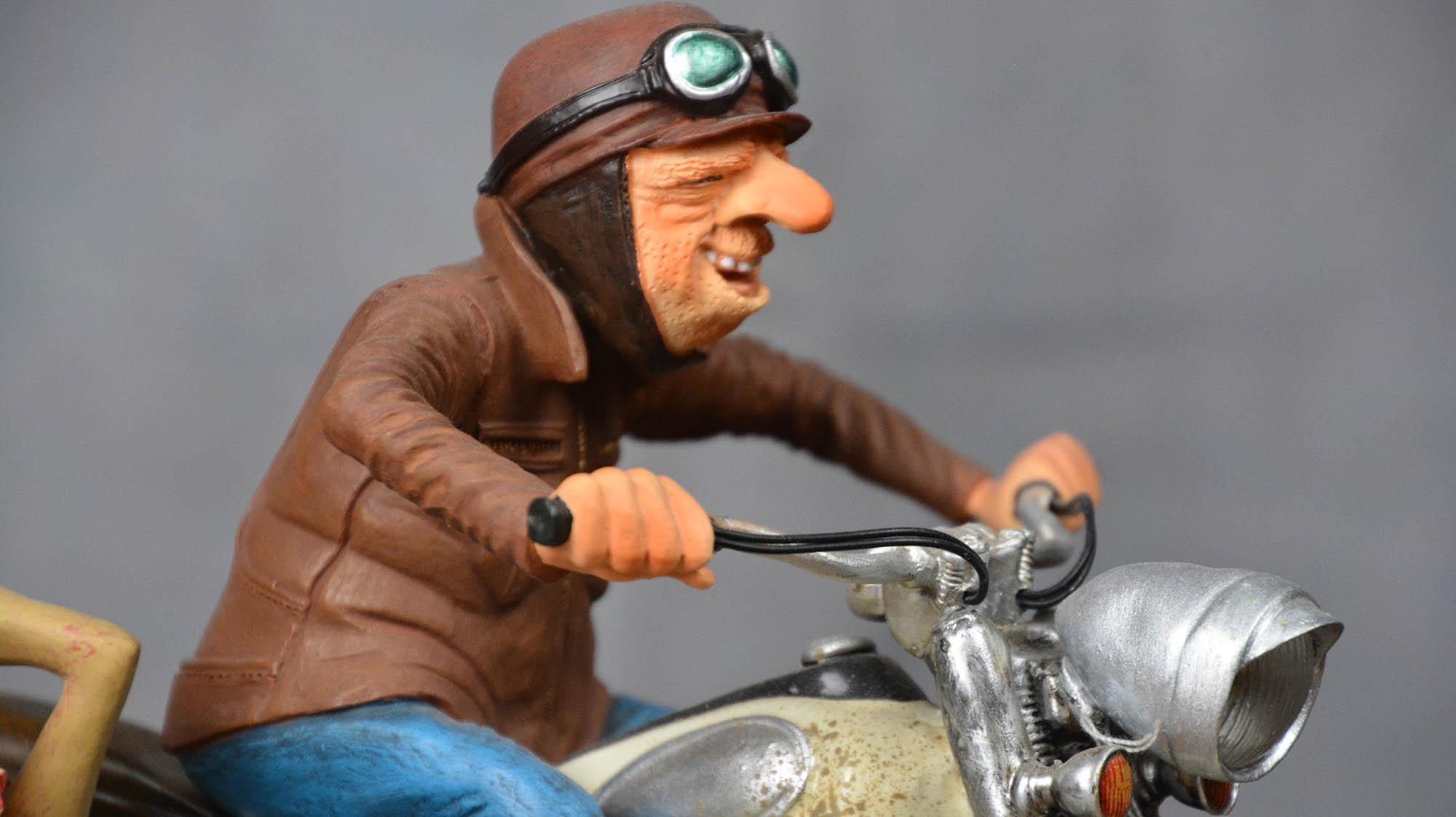 boutique figurine piece artisanale vehicule side car parodie
